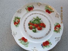 ANTIQUE GERMANY STRAWBERRIES PORCELAIN PLATE EMBOSSED FRUIT 7 1/2