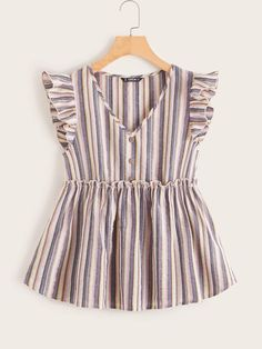 To find out about the Button Detail Ruffle Trim Striped Top at SHEIN, part of our latest Blouses ready to shop online today! Minimal Fashion, Trendy Fashion, Girl Fashion, Fashion Dresses, Mode Outfits, Blouses For Women, Women's Blouses, Trendy Tops For Women, Pretty Dresses