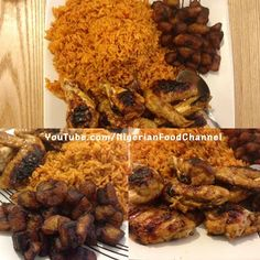 Jollof rice with grilled barbecue chicken wings and fried plantain #nigerianfood #food #nigeria