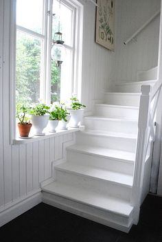 I was thinking of black and white stairs but maybe all white would be such a clean-fresh statement.