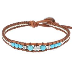 Turq Mix Single Wrap Bracelet on Natural Brown Leather - Chan Luu