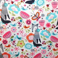 Doodles Collection  Twill Fox White Fabric Yardage by FabricMuse, $6.99