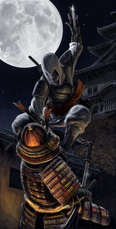 This is my japanese version of Assassin\'s Creed. The assassin look mostly like a ninja with lite armor, of course the white and red clothes. Arte Ninja, Ninja Art, Ninja Assassin, Assassin Order, Arte Assassins Creed, Asesins Creed, Assassin's Creed Wallpaper, Connor Kenway, Templer