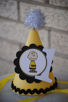 NEW - Charlie Brown Party Hat by mlf465 on Etsy https://www.etsy.com/listing/183739649/new-charlie-brown-party-hat