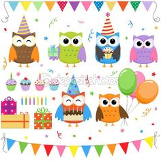 birthday party owls    http://depositphotos.com/6274135/stock-illustration-Birthday-party-owls-set.html