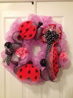 Ladybug wreath in pink poly deco mesh