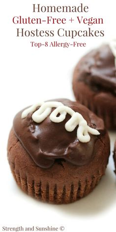 A copycat recipe for your favorite American snack cake! Homemade Gluten-Free & Vegan Hostess Cupcakes that are top-8 allergy-free and a whole lot healthier! A chocolate cream-filled dessert for any occasion that is bound to bring back all the nostalgia of childhood!