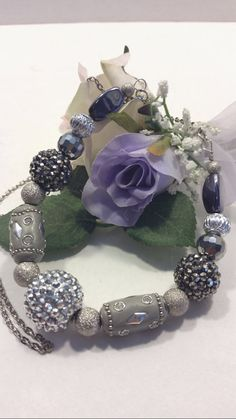 Silver black and gray necklace with rhinestones by SnoBirdBeads