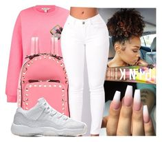 """"""""""" by kakoproduction ❤ liked on Polyvore featuring Miss Selfridge, Valentino, Victoria's Secret, Pink and croptop"""