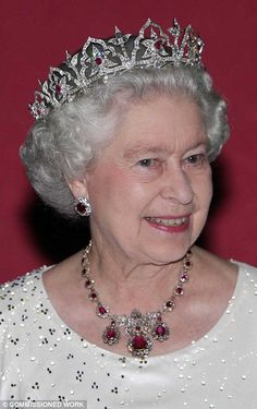 Britain's Queen Elizabeth II attends a State Banquet at the Palace in Malta, Wednesday 23 November 2005 in the Oriental Circlet, made by Garrard for Queen Victoria in 1853