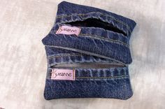 recycled jeans tissue holder/ make one of these for mother-in-law to take hunting.  she can use the crocheted one in her purse for work