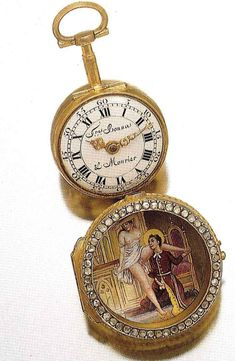 Freres Bonna & Mourier Swiss Pocket Watch, (Geneva), circa 1780.. Gold, Diamonds, Enamel, Risque