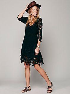 "Free People ""Mi Amore"" Lace Dress ~2013 (black)"