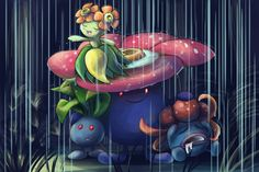 """""""The Oddish Family"""" by Zerochan923600 #vileplume #bellosom #gloom"""