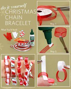 DIY Christmas Chain Bracelet #lulusholiday    How cute!  I love crafting!