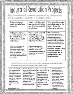 During a unit on Industrialization and Imperialism, students will complete three projects to demonstrate their understanding of the major happenings of the time period. They will choose two activities from the first chart in order to consider industrializ
