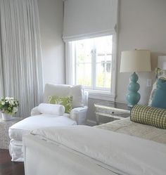 clean white with simple blue and green accents