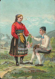 F.F.Eckersberg. Mann og dame i folkedrakter.