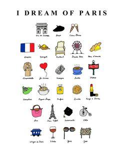 """Tu me manques, Paris.  """"I Dream of Paris"""" Illustration Print. Via Etsy."""