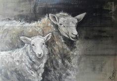 Acryl schilderij op steigerhout, Sheep on wood, boxart.be, mooie collectie  dieren op steigerplanken, bekijken waard!