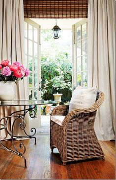 I just love wicker, iron and linens ~ A Colorful Mind