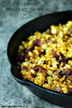 Grilled Charred Skillet Corn with Bacon from Kiss My Smoke. This is a great way to use up any leftover corn on the cob you have this season. The flavour of the bacon with the corn is fabulous, toss in some butter and it's perfection! Corn Recipes, Side Dish Recipes, Vegetable Recipes, Dinner Recipes, Easy Recipes, Iron Skillet Recipes, Skillet Meals, Grill Skillet, Banquet