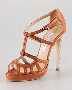 Topstitched-Strap Sandal by Oscar de la Renta at Neiman Marcus.