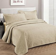 Fancy Collection 3pc Luxury Bedspread Coverlet Embossed Bed Cover Solid Beige New Over Size 100″x106″ Full/queen - http://aluxurybed.com/product/fancy-collection-3pc-luxury-bedspread-coverlet-embossed-bed-cover-solid-beige-new-over-size-100x106-fullqueen/