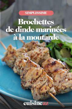Pour la cuisson au barbecue, la marinade à la moutarde est excellente pour ces brochettes de dinde. #recette#cuisine#brochette#dinde #moutarde #bbq #barbecue Barbecue, C'est Bon, Meat, Chicken, Food, Poultry, Skewers, Special Recipes, Mustard