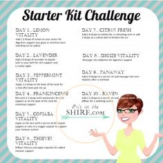 Young Living Essential Oils Starter Kit Challenge. This is just the beginning of all the things that you can do with your essential oils. #starterkit #essentialoils #lavender #peppermint #lemon #Frankincense #copaiba #thieves #citrusfresh #raven #digize #panaway #stressaway #ningxia #diffuser