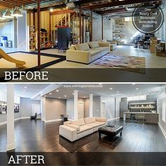 Check out this before and after picture of a basement we finished in #Naperville. #sebringservices #basement #basementremodel #remodeling #remodel #home #homedecor #homeimprovement #design #interiordesign #beforeandafter #before #after