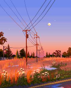 Scenery Wallpaper, Wallpaper Backgrounds, Aesthetic Backgrounds, Aesthetic Wallpapers, Aesthetic Art, Aesthetic Anime, Pixel Art Background, Cool Pixel Art, Pixel Animation