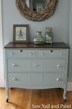 Blue antique dresser done w/ 2 parts Persian Blue, 2 parts Seagull Gray & 1 part Snow White - General Finishes Milk Paint