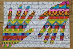 Benodigdheden: - wit papier - liniaal - zwarte fineliner (of stift met dun pu. Requirements: - white paper - ruler - black fineliner (or marker with thin pu . School Art Projects, Childrens Art, Camping Art