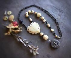 Rosario Da Fatima Locket and Bone Necklace