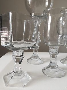 Set of 5 Glass Candy Buffet Jars Candy Jars Candy Buffet Mason Jar Gifts, Mason Jar Wine Glass, Glass Candy Jars, Candy Buffet Jars, Candy Display, Candy Bar Wedding, Decorated Wine Glasses, Diy Candle Holders, Baby Shower