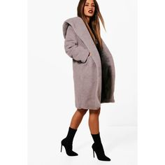 Boohoo Petite Nicola Oversized Hooded Teddy Coat (515 ZAR) ❤ liked on Polyvore featuring outerwear, coats, puffy coat, petite raincoat, white rain coat, white puffy coat and petite duster coat