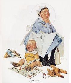 Nanny, Norman Rockwell dessin-et-peinture Norman Rockwell Prints, Norman Rockwell Paintings, Peintures Norman Rockwell, Art Database, Mail Art, American Artists, Belle Photo, Vintage Art, Illustration Art