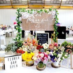 We are in love with flower bar! The cutest and most amazing way to impress your guests and add that extra sparkle to your event decorations! Don't hesitate to contact them now to get in quick! by partyaffairs Flower Truck, Flower Bar, Flower Ideas, Bridal Shower Flowers, Flower Stands, Flower Market, Flower Arrangements, Beautiful Flowers, Amazing
