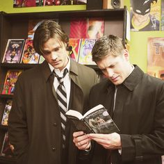 """Sam & Dean reading about Sam & Dean. Sam is like """"this is interesting"""" and dean is like """"what is this crap?"""""""