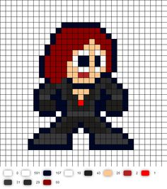 Black Widow  Civil War Perler Bead Pattern