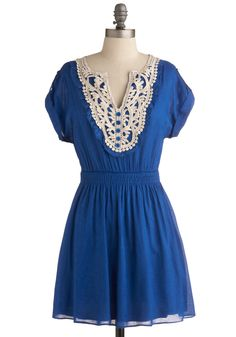 Own it, very cute but very short...but so am I =) Sapphire For Hire Dress - Blue, White, Buttons, Lace, Ruffles, Casual, A-line, Short Sleeves, Spring, Summer, Cotton, Short, Solid