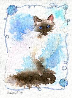 blue-eyed cat by ewaludwi.deviantart.com on @deviantART