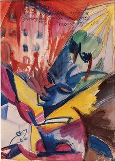 "Elfriede Lohse-Wächtler (1899-1940), ""Futuristische Stadtlandschaft mit Frau""(Futuristic cityscape with woman). German painter of the avant-garde whose works were banned as ""degenerate art""by the Third Reich."