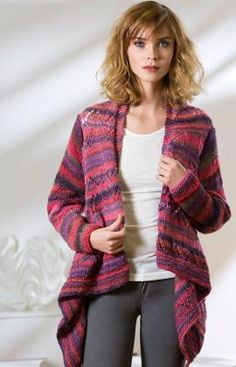 Knit this Drape Front Cardigan and have a combination of beauty and comfort in one. The yarn is self-striping so there is no color change to be done.