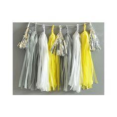 Paper Garland & Metallic Mini Tassels - 20 Tassel DIY Kit - Grey White Yellow Silver Foil - Wedding Decor Party Bridal Shower Baby Birthday by TeaAndBecky