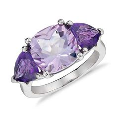 Indulge in color with this three-stone ring featuring a cushion shape Rose de France and two trillion shape amethyst gemstones set in white gold. Amethyst Gemstone, Gemstone Jewelry, Gold Jewelry, Amethyst Rings, Pearl Jewelry, Jewelry Rings, Jewelry Box, Jewellery, Blue Rings