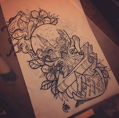 Harry Potter tattoo by Sam Ding Art – fashion home drawings – diy best tattoo images - diy tattoo images Harry Potter Tattoos, Harry Potter Tattoo Sleeve, Harry Potter Drawings, Literary Tattoos, Harry Potter Sketch, Diy Tattoo, Book Tattoo, Tattoo Ideas, Images Harry Potter