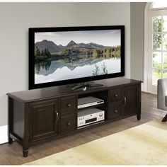 Wyndenhall Hampshire 72-inch TV Media Stand for up to 80-inch TV's ($583) ❤ liked on Polyvore featuring home, furniture, storage & shelves, entertainment units, brown, media cabinet, door shelves, drawer storage cabinet, computer display stand and display shelving