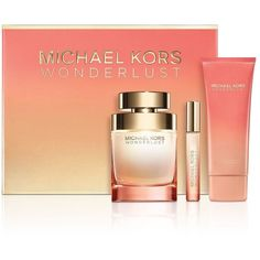 Michael Kors Wonderlust Three-Piece Gift Set ($122) ❤ liked on Polyvore featuring beauty products, gift sets & kits, no color, eau de perfume and michael kors